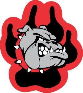 Red and Black Bulldog Paw Sticker