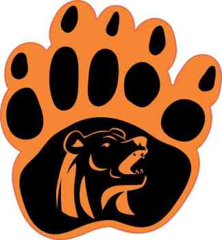 Orange and Black Bear Paw Sticker