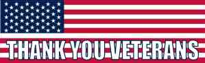 American Flag Thank You Veterans Bumper Sticker