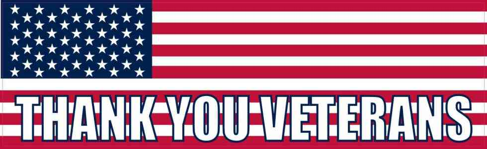 American Flag Thank You Veterans Bumper Sticker