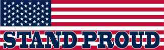 American Flag Stand Proud Bumper Sticker