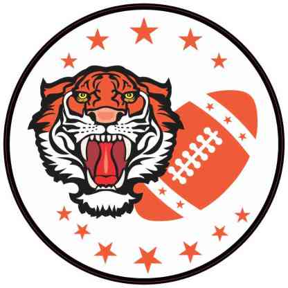 Orange Tiger Football Sticker