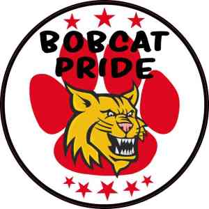 Red Paw Print Bobcat Pride Sticker