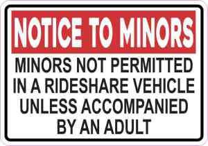 Red Minors Not Permitted in a Rideshare Vehicle Magnet