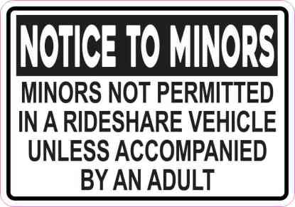Minors Not Permitted in a Rideshare Vehicle Sticker
