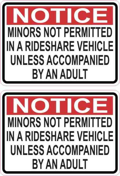Red Minors Not Permitted in a Rideshare Vehicle Stickers