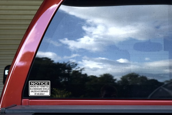 Minors Not Allowed in a Rideshare Vehicle Stickers