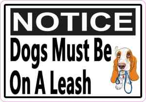 Picture Notice Dogs Must Be On A Leash Magnet