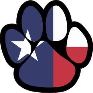 Texas Flag Paw Print Sticker
