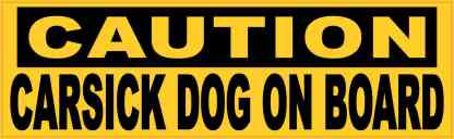 Caution Carsick Dog on Board Magnet