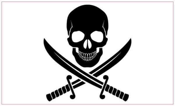 White Background Jolly Roger Sticker
