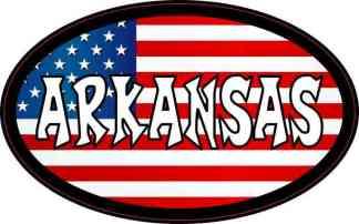 Oval American Flag Arkansas Sticker