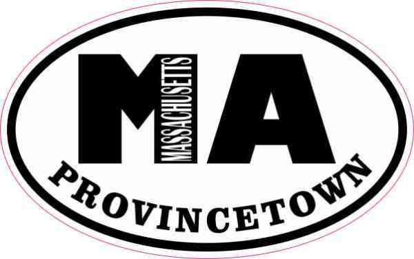 Oval MA Provincetown Massachusetts Sticker