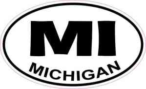 Oval MI Michigan Sticker