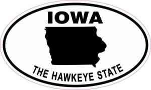 Oval Iowa the Hawkeye State Sticker