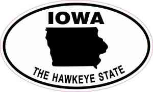 Oval Iowa the Hawkeye State Sticker