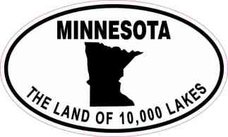 Oval Minnesota The Land of 10,000 Lakes Sticker