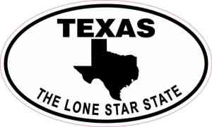 Oval Texas the Lone Star State Sticker