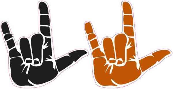 Black and Orange ASL I Love You Stickers