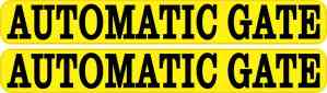 Yellow Automatic Gate Stickers