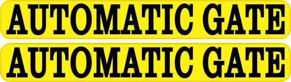 Yellow Automatic Gate Stickers