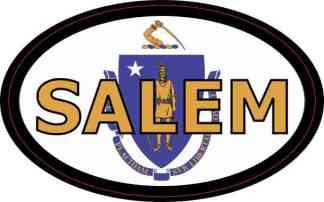 Oval Massachusetts Flag Salem Sticker