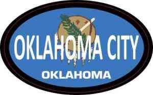 Flag Oval Oklahoma City Sticker