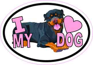 Rottweiler Oval I Love My Dog Sticker