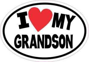 Oval I Love My Grandson Sticker