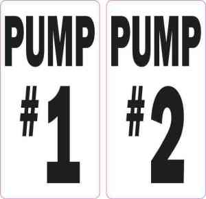 Pump #1 and Pump #2 Stickers