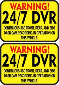 Warning 24/7 DVR Recording Stickers