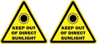 Keep Out of Direct Sunlight Stickers