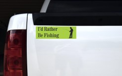 Green I'd Rather Be Fishing Bumper Sticker
