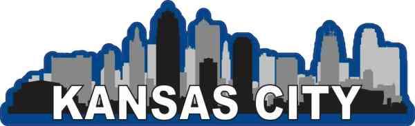 Blue Kansas City Skyline Sticker