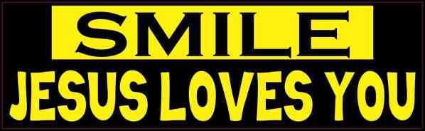 Yellow and Black Smile Jesus Loves You Bumper Sticker