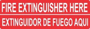 English Spanish Fire Extinguisher Here Sticker