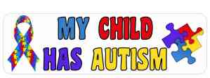 Ribbon My Child Has Autism Bumper Sticker