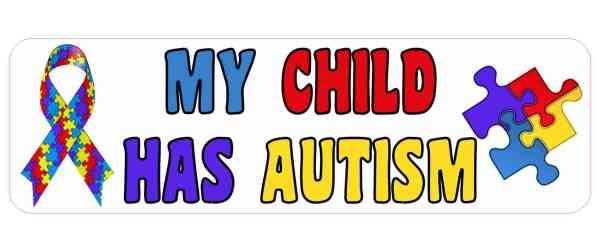 Ribbon My Child Has Autism Bumper Sticker