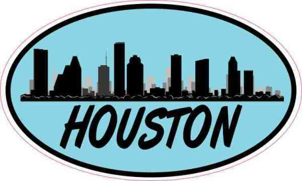 Light Blue Oval Houston Skyline Sticker