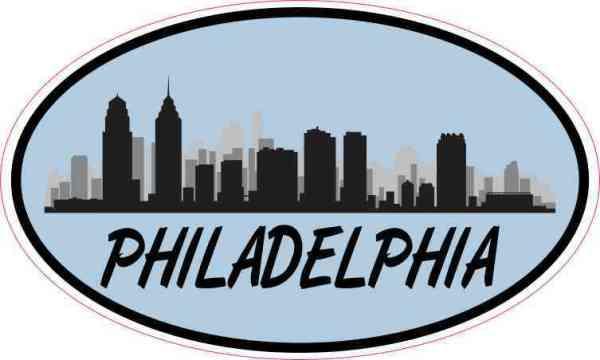 Blue Oval Philadelphia Skyline Sticker