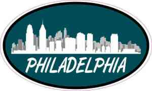 Green Oval Philadelphia Skyline Sticker