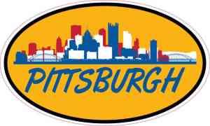 Orange Blue and Red Oval Pittsburgh Skyline Sticker