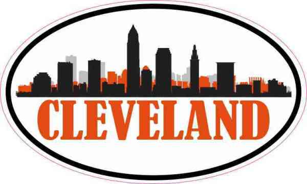 Orange Oval Cleveland Skyline Sticker