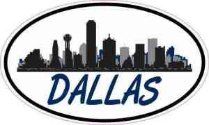 Blue Oval Dallas Skyline Sticker