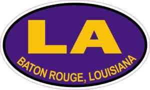 Purple and Gold Oval Baton Rouge Louisiana Sticker