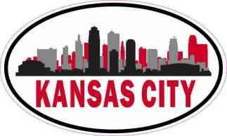 Red Oval Kansas City Skyline Sticker