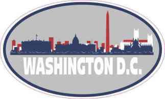 Patriotic Oval Washington D.C. Skyline Sticker