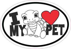 Turtle Oval I Love My Pet Sticker
