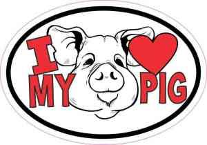 Oval I Love My Pig Sticker