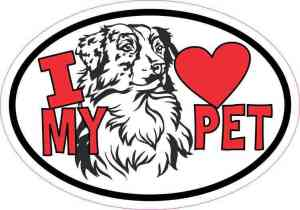 Australian Shepherd Oval I Love My Pet Sticker